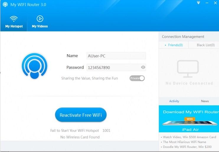 My WIFI Router - программа для раздачи интернета