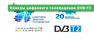 Каналы цифрового эфирного телевидения DVB-T2