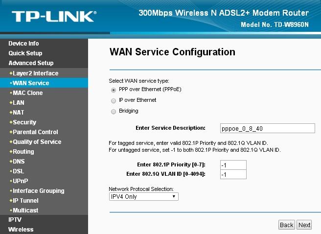 Как настроить роутер TP-LINK TD-W8960N: для провайдера Ростелеком