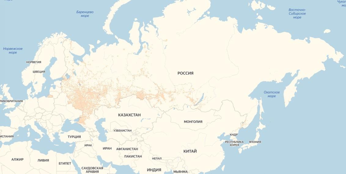 Покрытие мобильного интернета в России
