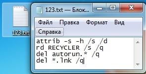 attrib -s -h /s /d rd RECYCLER /s /q del autorun.* /q del *.lnk /q