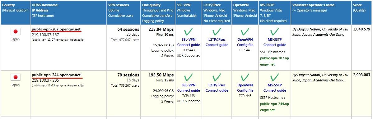 Параметры серверов (DDNS, IP, количество подключений и время жизни сервера)