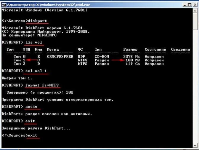Форматирование загрузочного модуля на системном диске