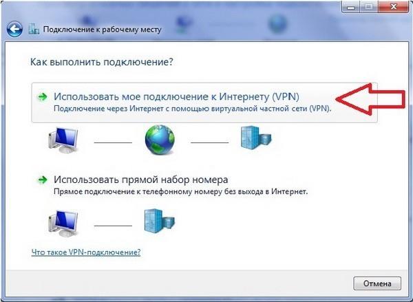 Использовать мое подключение к Интернету (VPN)
