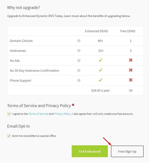 Бесплатный пакет Free в No-IP