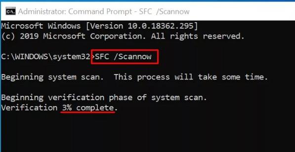 Проверка файлов операционной системы через sfc /scannow