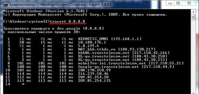 Команда tracert - трассировка по IP