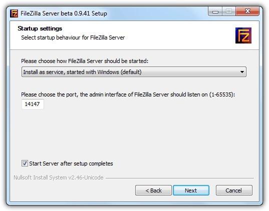 FileZilla Server установка