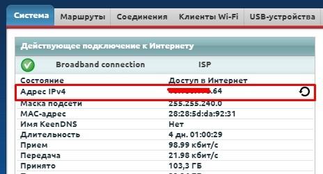 Проверка белого IP на Zyxel Keenetic