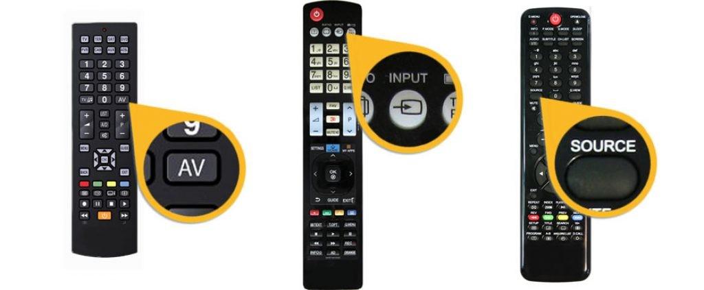 Кнопки на пульте телевизора для вывода на экран всех подключений