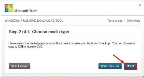 Выбор способа записи: DVD или USB-device