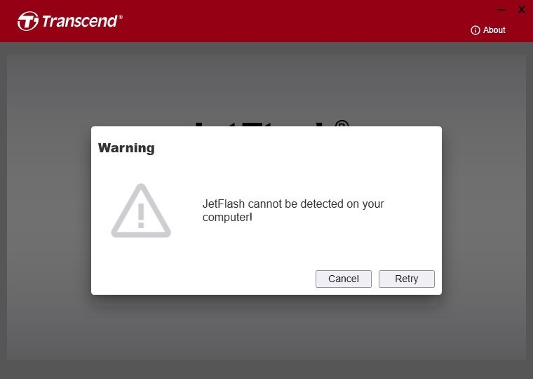 JetFlash cannot be detected on your computer!