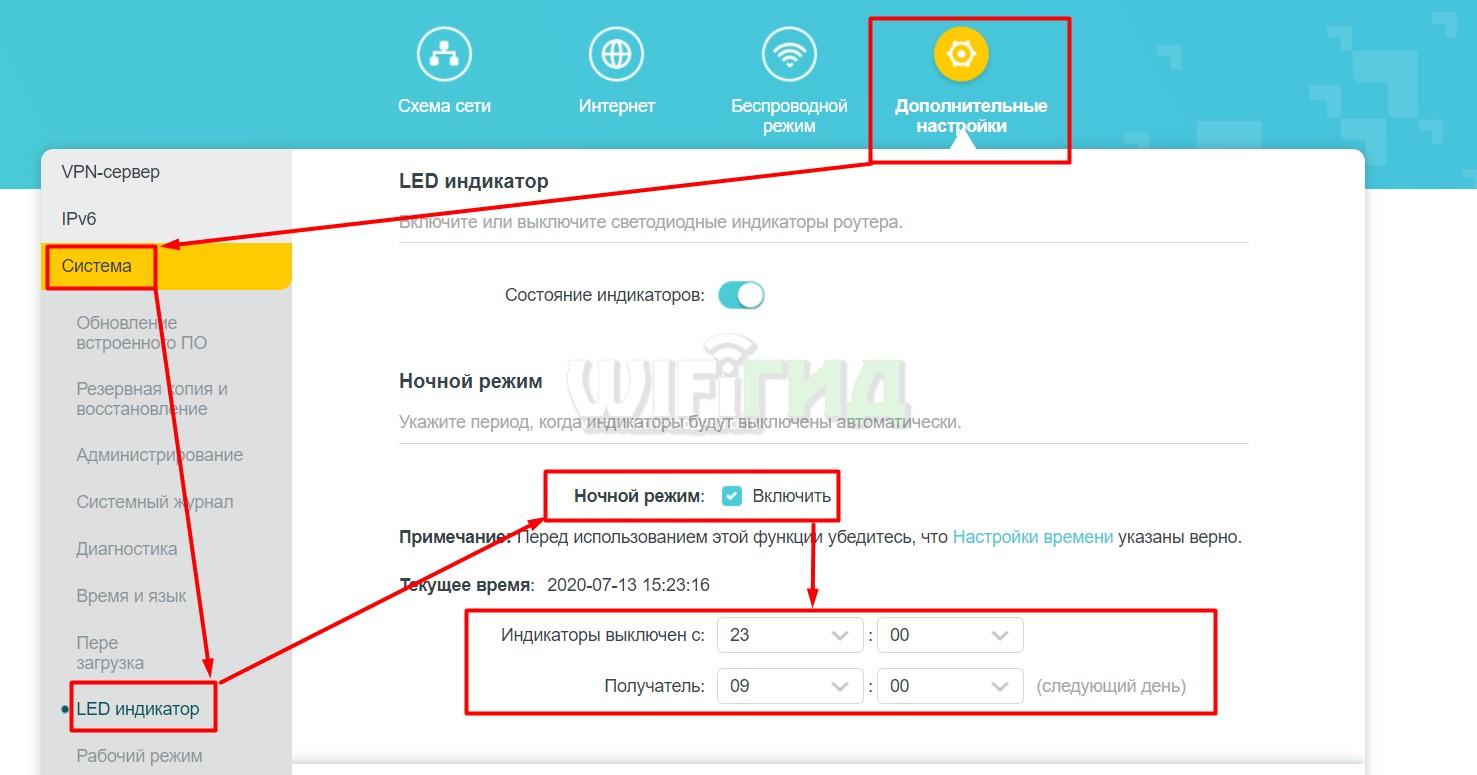 Настройка работы индикаторов TP-Link AX10