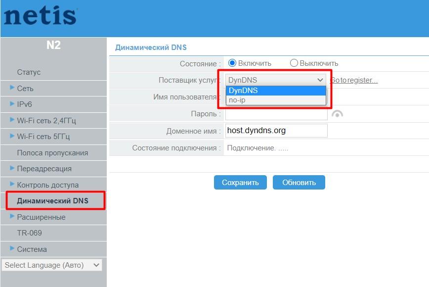 Netis N2 - Динамический DNS