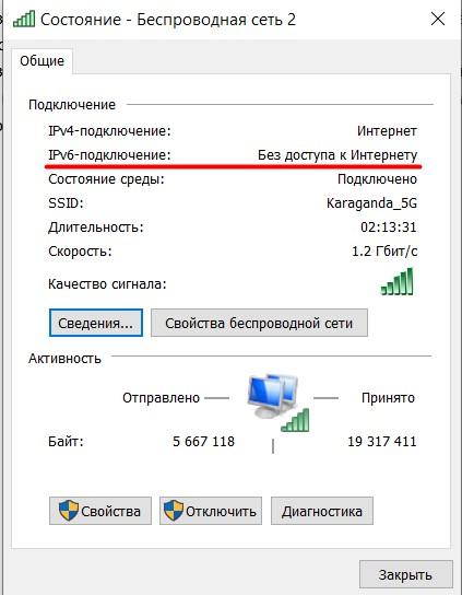 IPv6 подключение Без доступа к Интернету