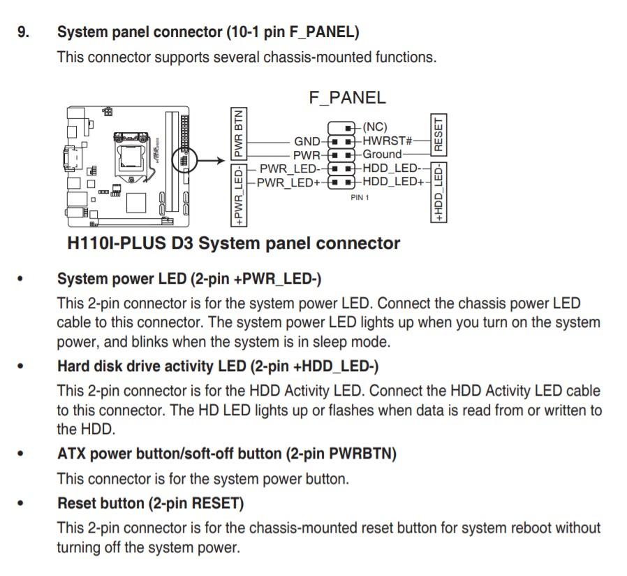Схема подключения передней панели ASUS