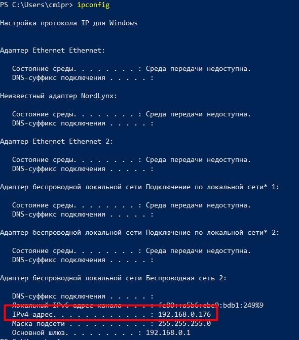 Выполнение ipconfig в PowerShell
