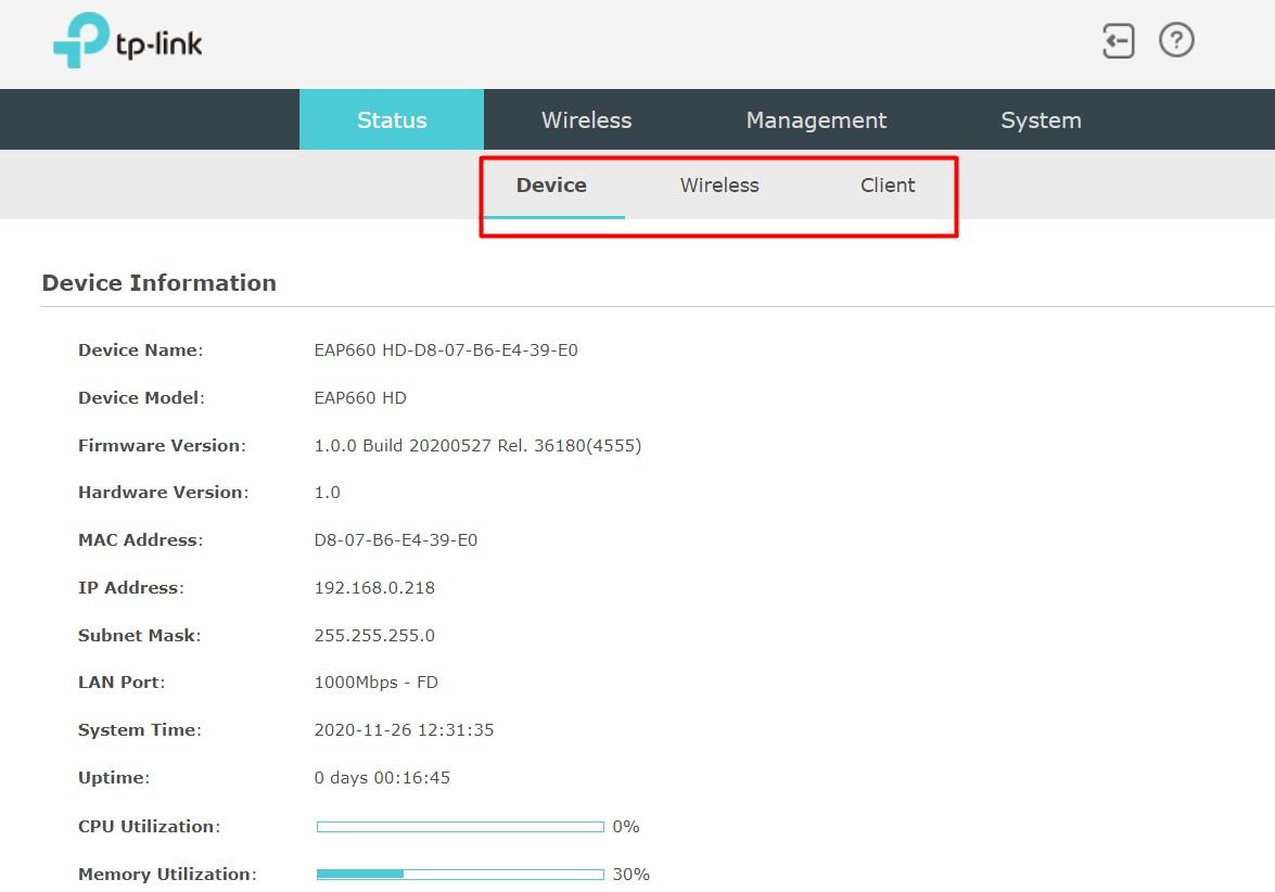 Omada EAP660 HD - Вкладка Status