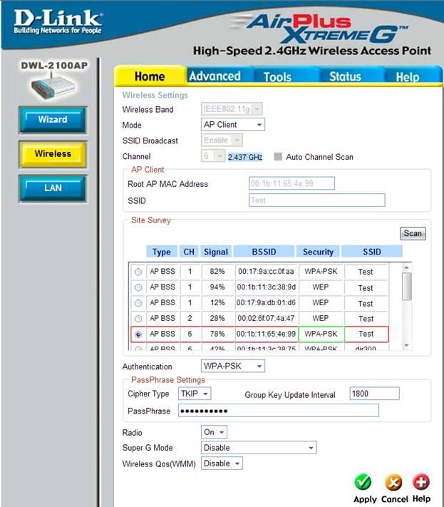 Настройка DWL-2100AP в режиме клиента