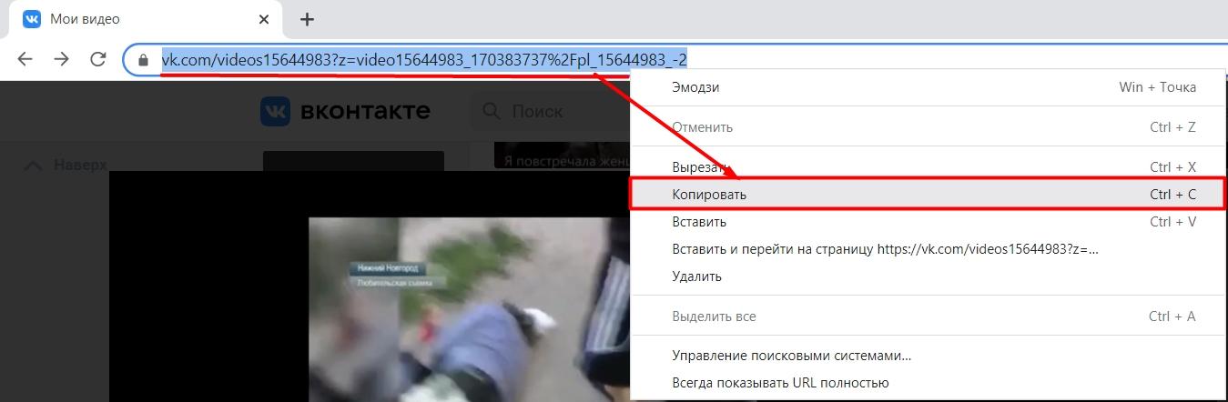 Копируем адрес видео из ВК