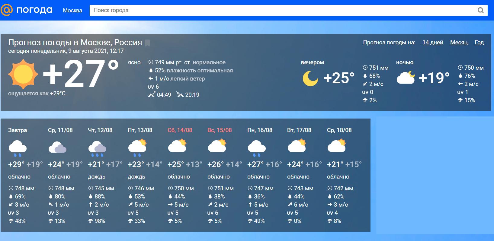 ТОП-10 самых точных сайтов прогноза погоды (провели тест)