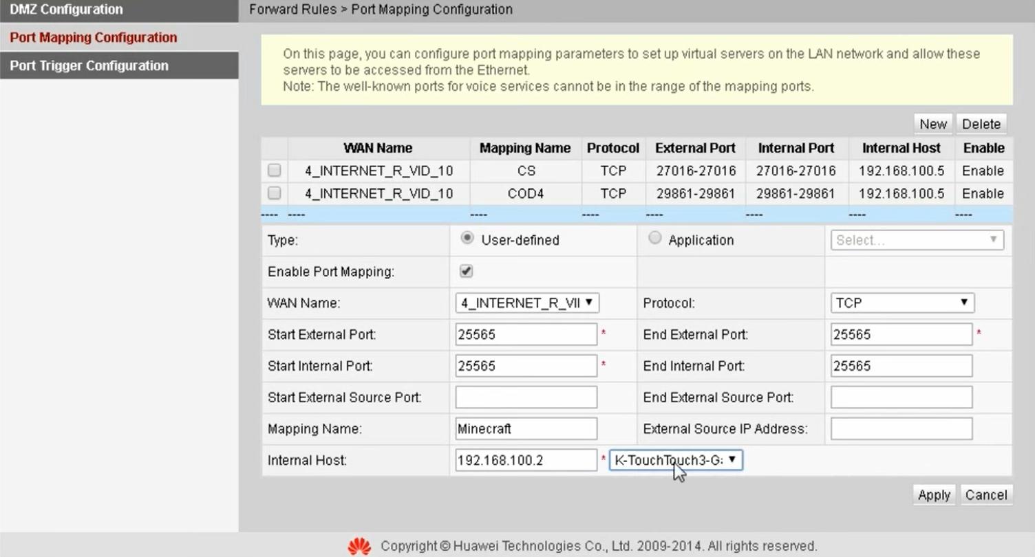Как открыть порты на роутере Huawei HG8245H